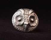 Sterling Silver Owl ring made from antique vintage button