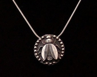 Sterling Silver Bee pendant made from antique vintage button