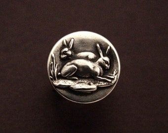 Sterling Silver Two Rabbits ring made from antique vintage button