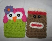 Adorable Hand Crochet Owl or Sock Monkey Nintendo DS, DSi, 3DS or DS Lite Case Cozy Made to Order