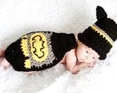 Crochet Cuddle Critter Cape Set - Batman -Photography Prop - Newborn - Made to Order