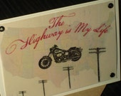 The Highway is My Life - Gocco Screen-Printed Vellum Card