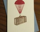 Parachute Suitcase - Gocco Screen-Printed Card