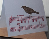 Bird On Music - Gocco Screen-Printed Greeting Card
