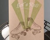 Let's Roll - 6-Pack Gocco Screen-Printed Roller Skate Cards
