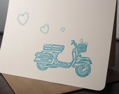 Scooter and Hearts - 50-Pack Gocco Screen-Printed Cards