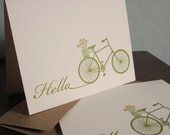 Hello Bike - 50-Pack Gocco Letterpress Printed Card