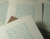 5-Pack Word Search Thank You - Gocco Printed Cards