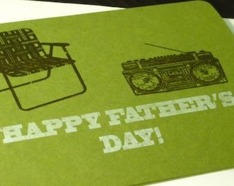 Happy Fathers Day Lawn Chair - Dark Green Gocco Printed Card