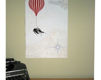 Flying Shoes & Hot Air Balloon Poster