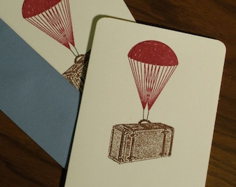 Parachute Suitcase - 12-Pack Gocco Screen-Printed Cards