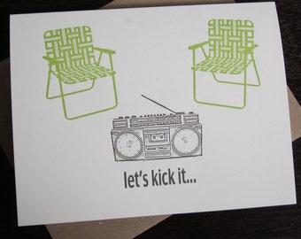Let's Kick It - Letterpress Printed Art Card