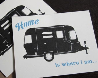 Home is Where I Am - 50-Pack Letterpress Airstream Card Stationery