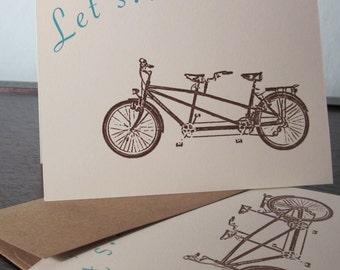 Let's - Tandem Bike 6-Pack Gocco Screen-Printed Invitations
