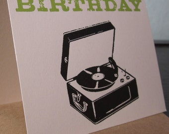 It's Your Birthday - Letterpress Record Player Birthday Card