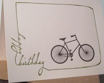 Birthday Bike - Letterpress Printed Birthday Card
