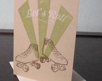 Let's Roll - Gocco Screen-Printed Roller Skate Card