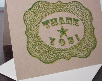 Belt Buckle Thank You - Gocco Screen-Printed Thank Art Card