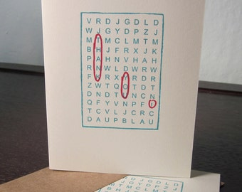 Word Search Thank You 6-Pack - Gocco Screen-Printed Cards