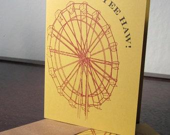 Yee Haw Ferris Wheel - 24-Pack Gocco Screen-Printed Stationery