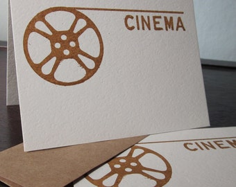 Cinema Film Reel - 12-Pack Gocco Screen-Printed Greeting Cards