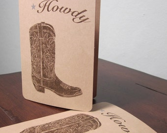 Howdy Cowboy Boot -SALE- 6-Pack Gocco Screen-Printed Art Cards
