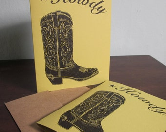 Howdy - SALE- 6-Pack Gocco Screen-Printed Cowboy Boot Art Card