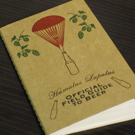 FREE SHIPPING Holiday Sale - Beer Notebook - Gocco Screen-Printed with Hops