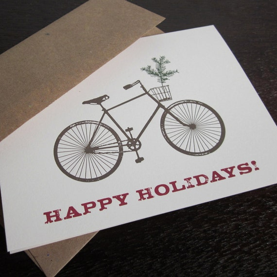 Happy Holidays Bike and Tree Letterpress Christmas Art Card