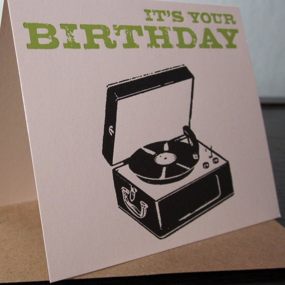 It's Your Birthday Letterpress Record Player By Twoguitars