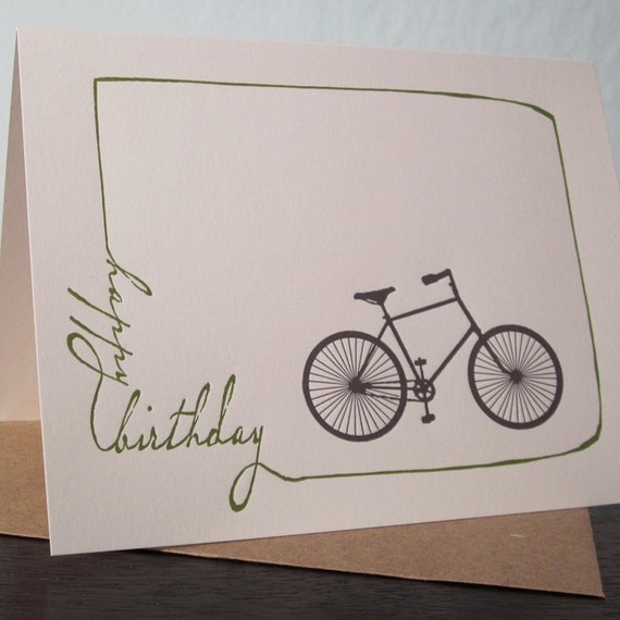 Birthday Bike - Letterpress Printed Birthday Card