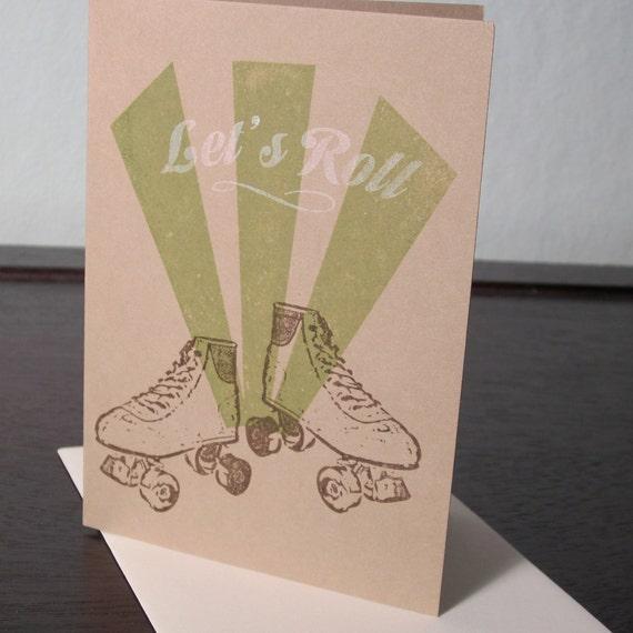 Let's Roll - Gocco Screen-Printed Roller Skate Card
