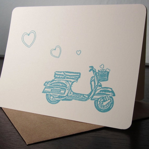 Scooter and Hearts - Gocco Screen-Printed Card