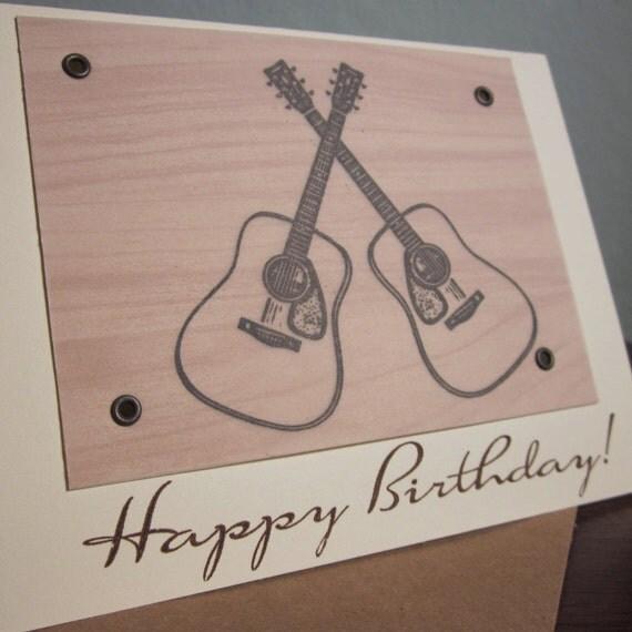 Crossed Guitars Birthday Card - Gocco Screen-Printed Vellum Card