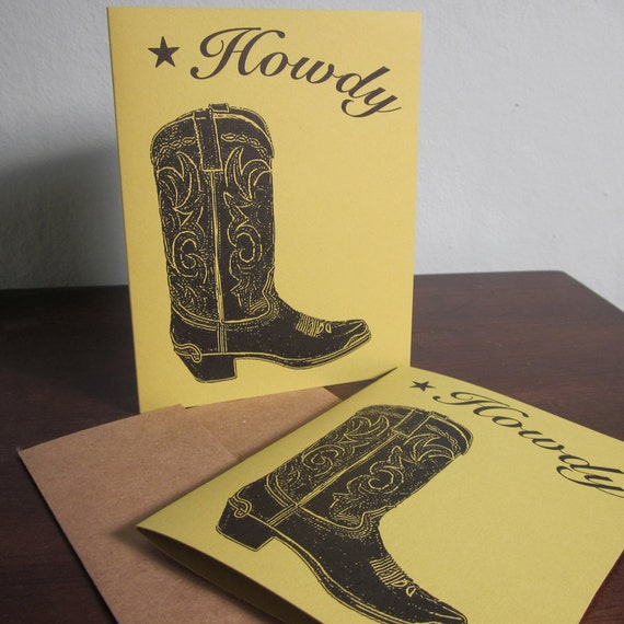Howdy Cowboy Boot SALE - 12-Pack Gocco Screen-Printed Art Cards