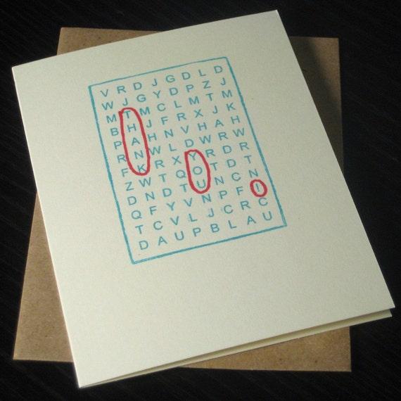 Single Word Search Thank You Card - Gocco Printed