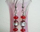 Red\/Silver Dangle Earrings