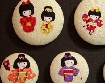 Tiny Geisha  Fabric Magnets