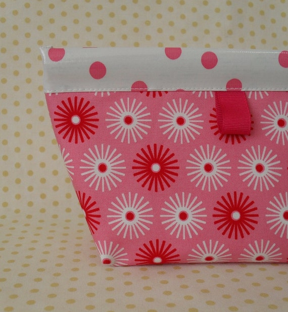 Pink Starburst Oilcloth Snappy Pouch
