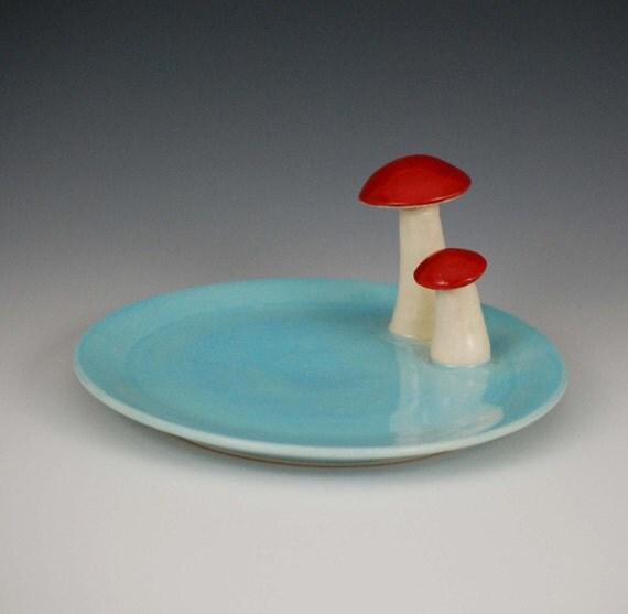 mushroom dish, blue