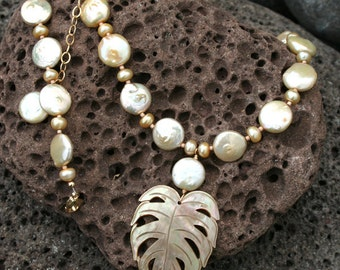 Coin Pearl and Hawaiian Leaf Shell Beach Bride Necklace