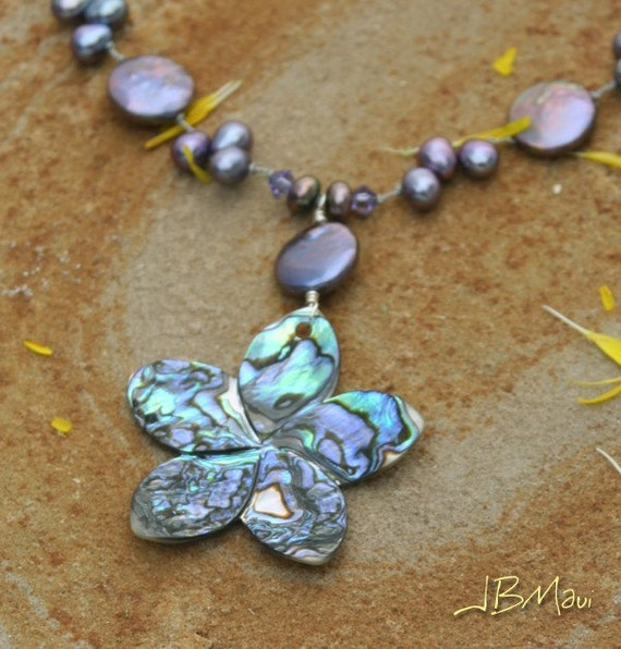 Purple Plumeria - Freshwater Pearl and Paua Shell Silk Knotted Necklace