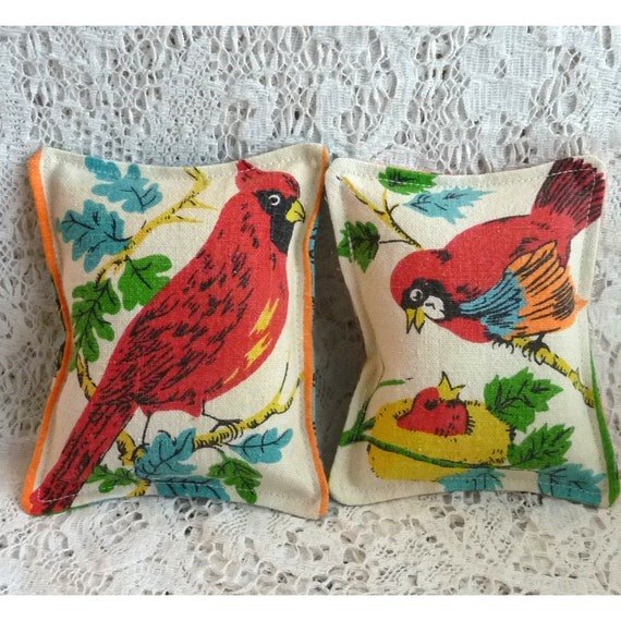 Lavender sachets ...set of two..red birds
