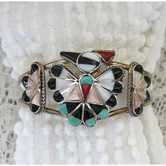 Vintage Zuni thunderbird cuff bracelet