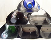 SALE-Wine Bar Rack Recycled Record Albums-Original Price 46