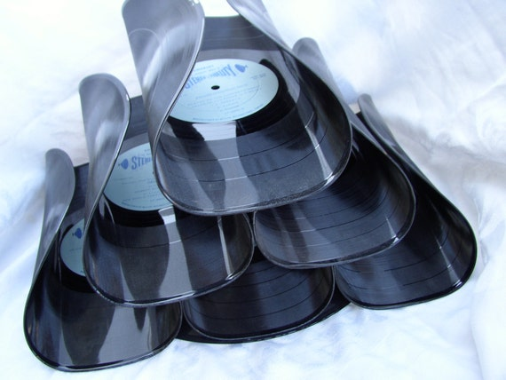 SALE-Wine Bar Rack- Recycled Record Albums-Eco-Friendly Functional Art