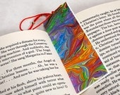 Marbled Paper Bookmark Book / Mini Notebook - Series 4, Bright Rainbow Leaf Pattern