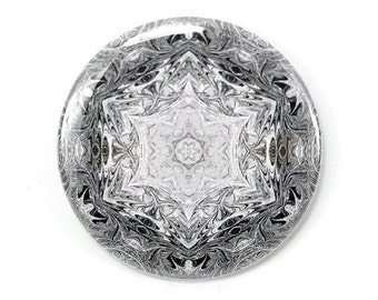 Snowflake Mandala Magnet or Pin - Office, Kitchen, Fashion Accessory, Purse Jewelry - Pinback Button Badge - Gift Under 5 - 2.25 inch No 6