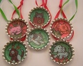 Christmas in July sale! 25% off! holiday kittens and puppies, set of 6 bottlecap ornaments