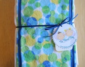 Bubbly Blue, Green, and Yellow - Burp Cloth Set of 2